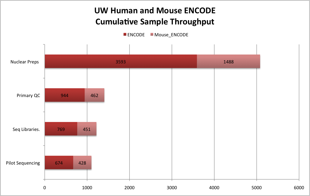 UW Human and Mouse ENCODE Culmulative Sample Throughput: ENCODE	Pilot Sequencing	674	Seq Libraries.	769	Primary QC	944	Nuclear Preps 	3593